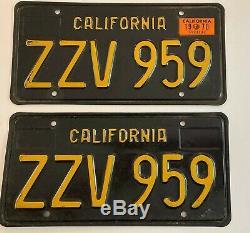 1963 1960s 1970 California Black License Plate PAIR Plates Ford GTO Chevrolet