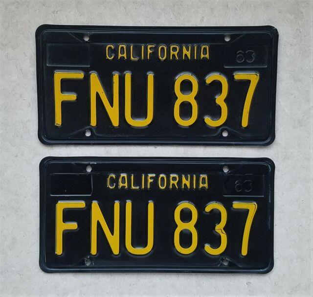 1963 1964 California Black License Plates Dmv Clear Yom 1969 1965 1966 1967 1968