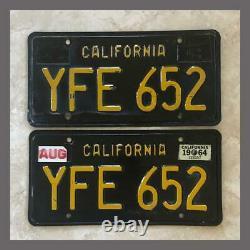 1963 1964 Passenger Car Original CALIFORNIA License Plates Pair DMV Clear YOM