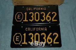 1963-1968 vintage California local municipality (E) plates