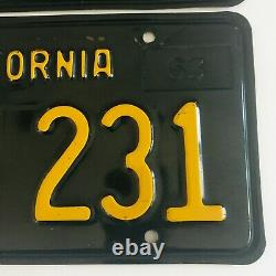 1963-1969 California Black License Plates DMV Clear 1966 Validation