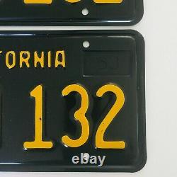 1963-1969 California Black License Plates DMV Clear 1968 &1969 Validation