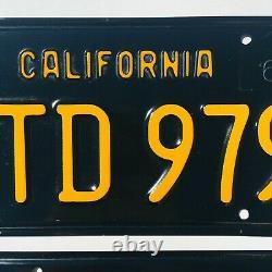 1963-1969 California Black License Plates DMV Clear YOM 1964 Validation