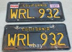 1963-1969 California Black License Plates DMV Clear for auto