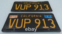 1963 -1970 California Yom Black & Yellow Car License Plate Set Vup 913