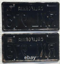 1963-69 California License Plates Pair, DMV Clear, Clean Straight Originals