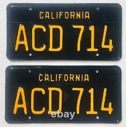 1963-69 California License Plates Pair, DMV Clear, Show Quality Restoration