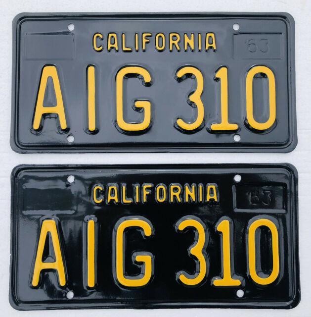1963-69 California License Plates Pair. Dmv Clear. Restored Professionally