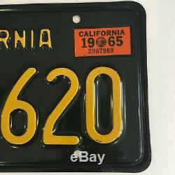 1963 Black California License Plates 1965 Sticker DMV Clear Guaranteed, VG