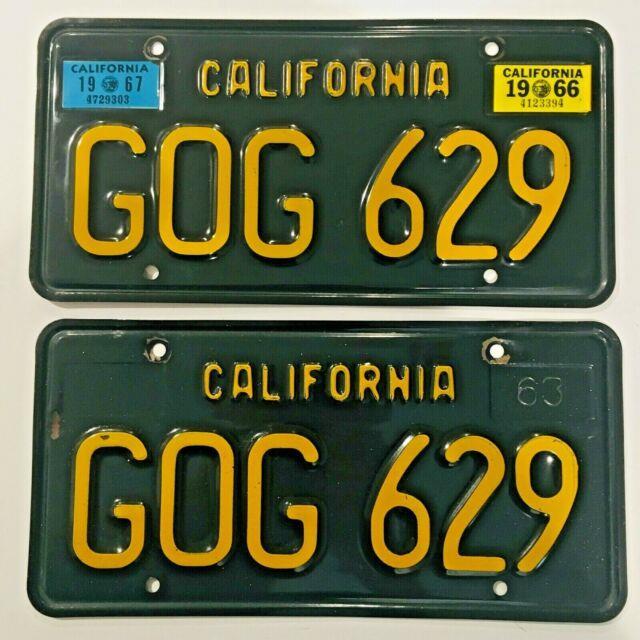 1963 Black California License Plates 1966 1967 Sticker Dmv Clear Guaranteed, Vg