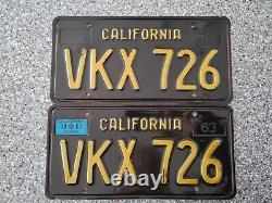 1963 Black California License Plates, 1967 Validation, DMV Clear Guaranteed, VG