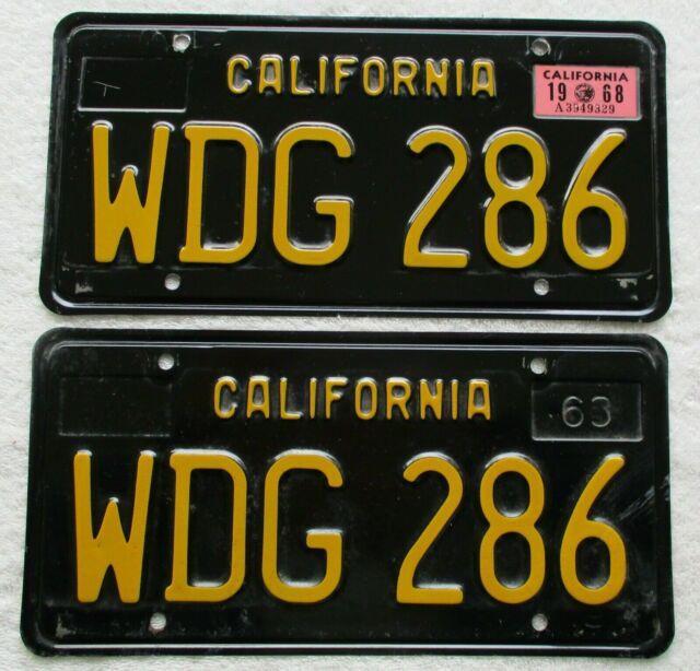 1963 Black California License Plates 1968 Sticker Dmv Clear Guaranteed, Vg