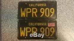 1963 Black California License Plates, 1968 Validation, DMV Clear Guaranteed