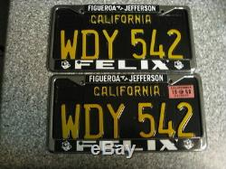 1963 Black California License Plates, 1968 Validation, DMV Clear Guaranteed, EX