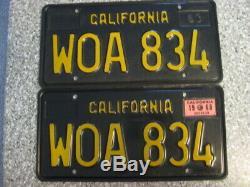 1963 Black California License Plates, 1968 Validation, DMV Clear Guaranteed, VG