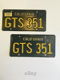 1963 Black California License Plates 1969 Sticker DMV Clear Guaranteed, VG