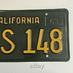 1963 Black California License Plates DMV Clear