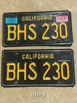 1963 California 19671968 License Plate Pair BHS 230 plates black gold yellow