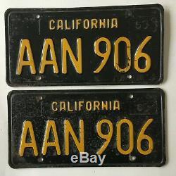 1963 California Black License Plate PAIR Plates 1960's 1964 1965 1966 1967 1968