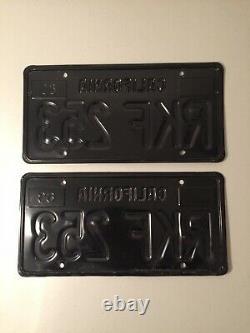 1963 California Black Plates, 1968 1969, DMV Clear, Camaro Z28, Mustang Boss 429