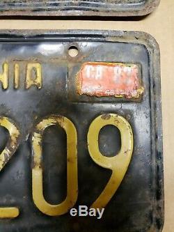 1963 California Black & Yellow License Plates set pair Clear #IAM209