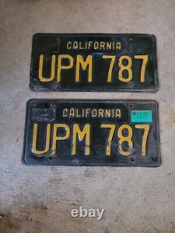 1963 California Black & Yellow License Plates set pair #UPM630