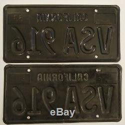 1963 California CA Black License Plates Pair Unrestored YOM DMV Clear 72 73 Tag