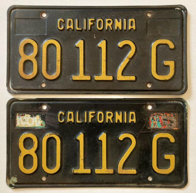 1963 California Ca Black License Plates Pair Unrestored Yom Dmv Clear Commercial