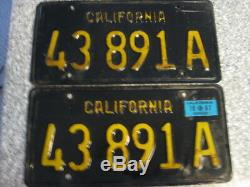 1963 California Commercial License Plates, 1967 Validation, DMV Clear Guaranteed