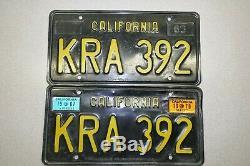 1963 California DMV CLEAR YOM # KRA-392 All Original Vintage License Plate Pair