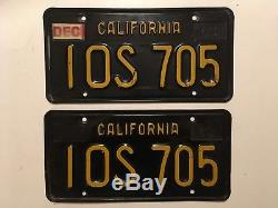 1963 California License Plate PAIR Plates Black 1960's YOM Ford Chevy Dodge Olds