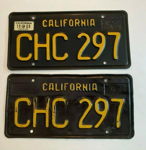 1963 California License Plate Pair Plates Black 1969 Sticker All Original
