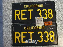 1963 California License Plates, 1965 Validation, DMV Clear Guaranteed, Restored