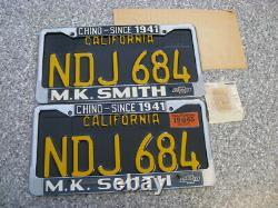 1963 California License Plates, 1965 Validation, DMV Guaranteed, NOS, Un-used