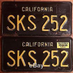 1963 California License Plates, 1966 Validation, DMV Clear 4-3-17, SKS 252