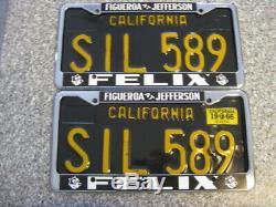 1963 California License Plates, 1966 Validation, DMV Clear Guaranteed, VG
