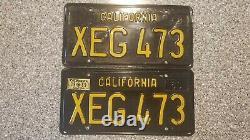 1963 California License Plates, 1969 Validation, DMV Clear Guaranteed, G