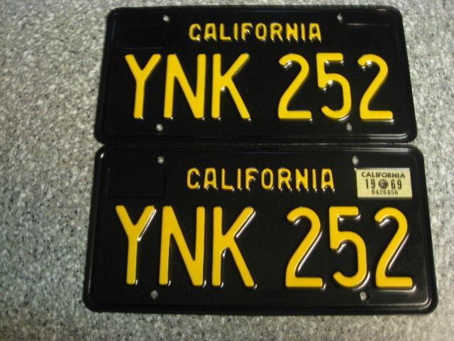 1963 California License Plates, 1969 Validation, Dmv Clear Guarranteed, Restored