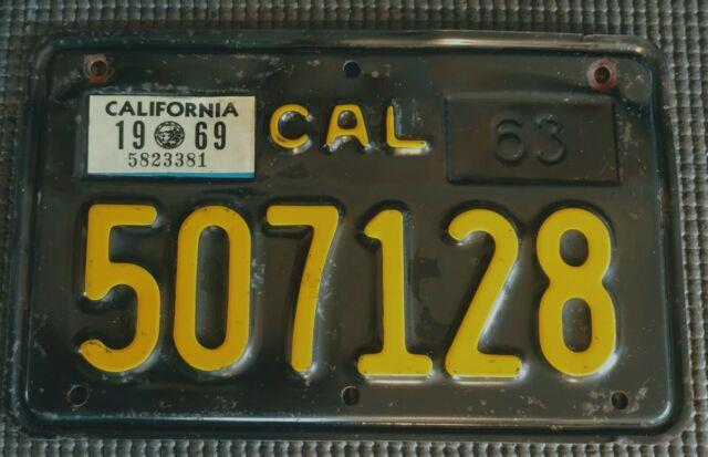 1963 California Motorcycle License Plate 507128 Excellent Color 1969 Sticker