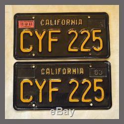 1963 California YOM License Plates Pair DMV Clear Original