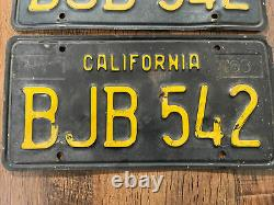 1963 California license plate pair Black and Yellow