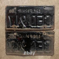 1963 California license plate pair CED 917 YOM DMV clear sticker Ford Chevy