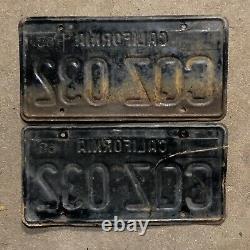 1963 California license plate pair CQZ 032 YOM DMV clear sticker Ford Chevy