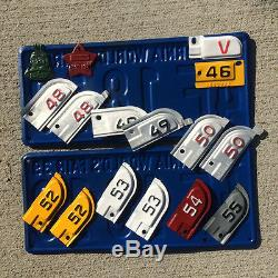 1963 California license plate pair CUV 111 YOM DMV clear sticker Chevy Impala