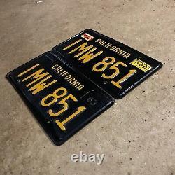 1963 California license plate pair IMW 851 YOM DMV clear sticker Ford Chevy 1964