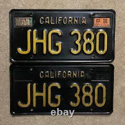 1963 California license plate pair JHG 380 YOM DMV clear sticker Ford Chevy