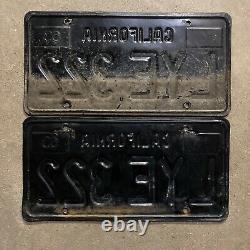 1963 California license plate pair LYE 322 YOM DMV clear sticker Ford Chevy