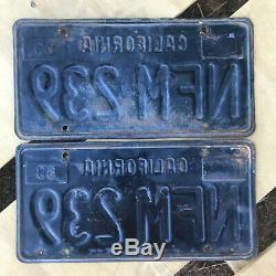 1963 California license plate pair NFM 239 YOM DMV clear sticker Ford Chevy 1964