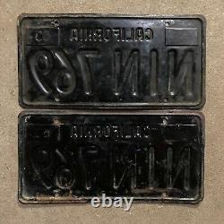 1963 California license plate pair NIN 769 YOM DMV clear sticker Ford Chevy 1964