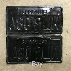 1963 California license plate pair NLR 084 YOM DMV clear sticker Ford Chevy 1964